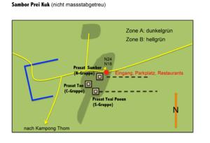 Sambor Prei Kuk - Map of the temple area of Sambor Prei Kuk