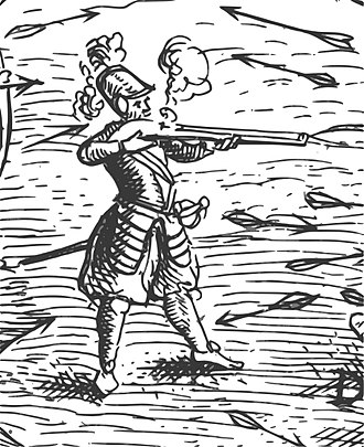 "Samuel de Champlain - Detail from ""Deffaite des Yroquois au Lac de Champlain,""  ChamplainVoyages (1613). This self-portrait is the only surviving contemporary likeness of the explorer."