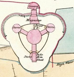 Sandgate Castle - 1867 plan of the castle; north-west and north-east towers and gatehouse at the top