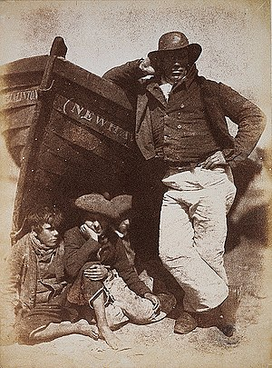 "Bairn - A man with ""his boat and bairns"" in a calotype print from the 1840s, now in the National Galleries of Scotland."