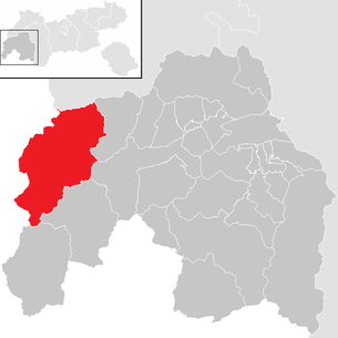 Location of the municipality of St. Anton am Arlberg in the Landeck district (clickable map)