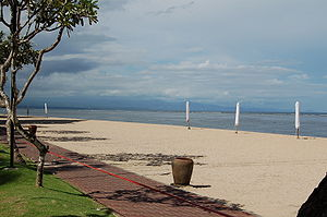 Sanur, Bali - Beach outside the Bali Hyatt looking north towards Mount Agung (concealed by clouds)