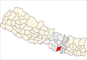 Sarlahi District i Janakpur Zone (grå) i Central Development Region (grå + lysegrå)