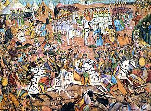 Scène de la bataille de Karbalâ, par Mohammad Modabber, deuxième fondateur de l'école picturale ghahveh-khâneh.jpg