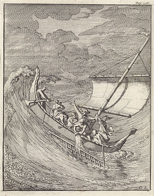 Men in a small ship in a storm