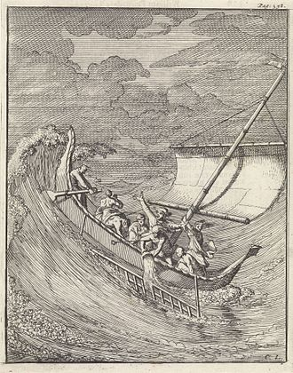 William Dampier - Engraving of Dampier's encounter with the storm off Aceh, by Caspar Luyken.