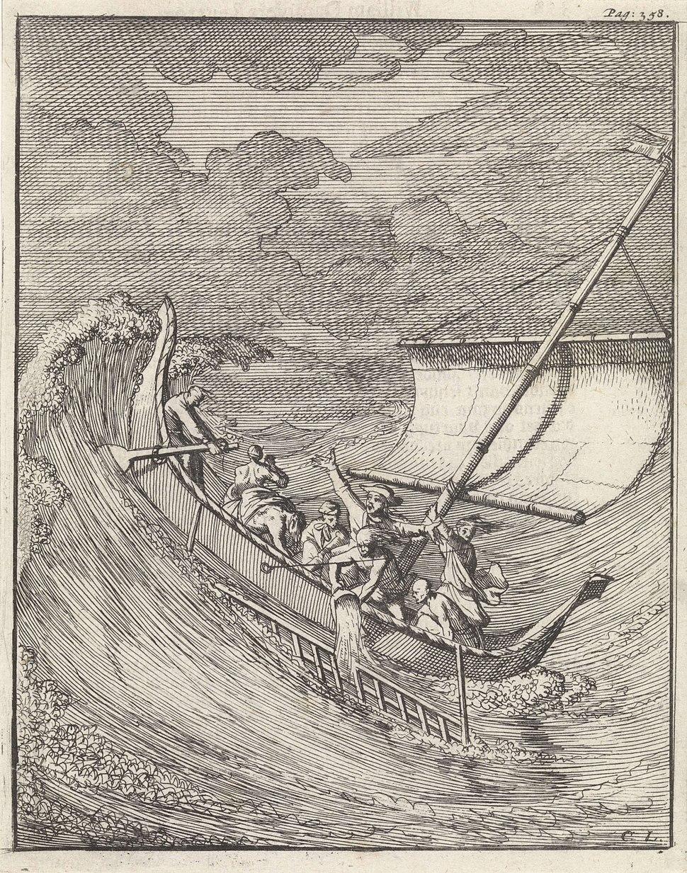 Schrijver William Dampier in een kleine open prauw op reis naar Aceh (Indonesië), Caspar Luyken, Abraham de Hondt, 1698 - Rijksmuseum