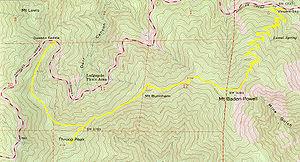 Mount Baden-Powell - Trail connecting Mt. Burnham to Mt. Baden-Powell