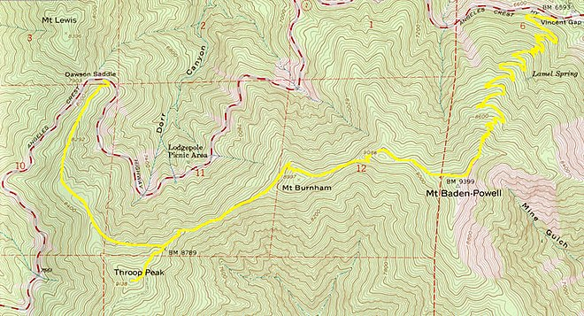 U.S. Geological Survey topographical map of the Boy Scout park service trail in California that connects Throop Peak, Mount Burnham, and Mount Baden-Powell Scout trail usgs.jpg