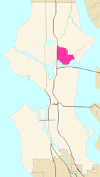 Map of the University District's location in Seattle