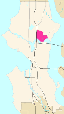 University District on map of Seattle