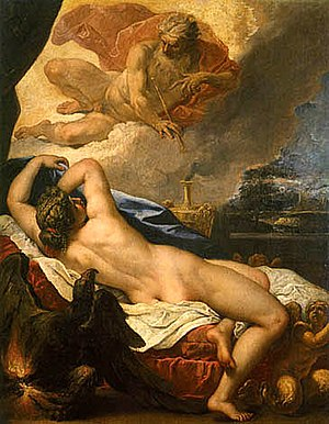 Semele - Jove and Semele (1695) by Sebastiano Ricci