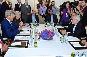 Negotiations leading to the Joint Comprehensive Plan of Action - John Kerry and Mohammad Javad Zarif conduct a bilateral meeting in Vienna, Austria, 14 July 2014