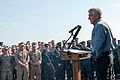 Secretary of Defense Chuck Hagel, at lectern, speaks to troops and merchant mariners aboard the afloat forward staging base USS Ponce (AFSB(I) 15) in Bahrain Dec. 6, 2013 131206-N-IZ292-079.jpg