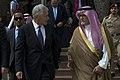 Secretary of Defense Chuck Hagel walks with Prince Fahd bin Abdullah, Deputy Minister of Defense, before departing Riyadh, Saudi Arabia, April 24, 2013.jpg