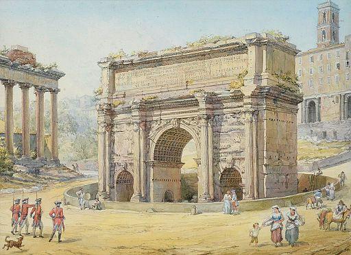 Septimus-Severus-Bogen im Forum Romanum 19Jh