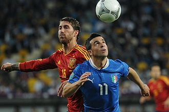Antonio Di Natale - Di Natale (right) playing for Italy during the UEFA Euro 2012 Final.