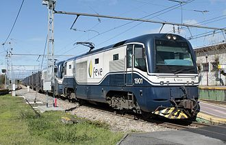 Electro-diesel locomotive - Double FEVE electro-diesel locomotive 1915 at El Berrón (Spain)