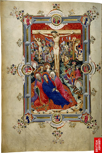 Sherborne Missal - Page 380 showing the Crucifixion, the only full-page miniature in the missal. The following page was intentionally left blank.