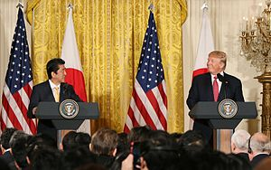 Japan–United States relations - Japanese Prime Minister Shinzō Abe (left) and American President Donald Trump (right) meet in Washington in February 2017