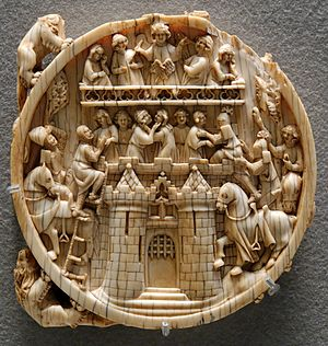 Courtly love - Warfare imagery: the Siege of the Castle of Love on an ivory mirror-back, possibly Paris, ca. 1350–1370 (Musée du Louvre)