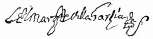 José Antonio de Mendoza, 3rd Marquis of Villagarcía - Image: Signature Villagarcia