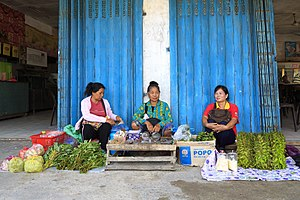 Rungus people - Three Rungus ladies selling home-produced products in Sikuati Town, Sabah, Malaysia.