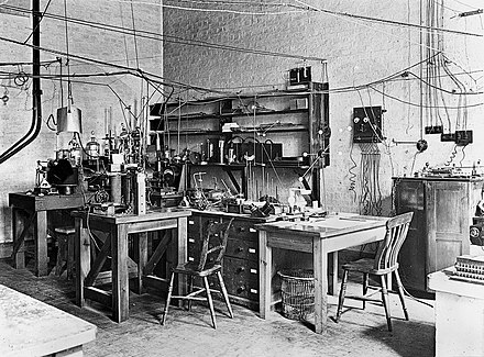 Sir Ernest Rutherford's physics laboratory- early 20th century Sir Ernest Rutherfords laboratory, early 20th century. (9660575343).jpg