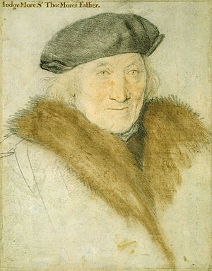 "John More (judge) - Sir John More, aged 76, from ""Study for a portrait of Thomas More's family"", c. 1527, by Hans Holbein the Younger"