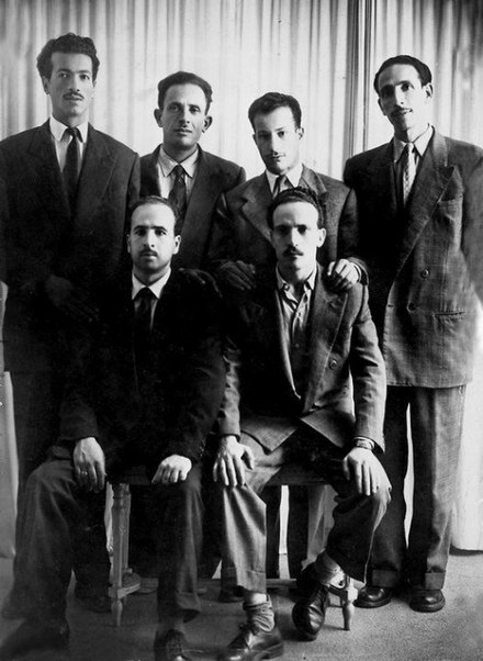 The six historical Leaders of the FLN: Rabah Bitat, Mostefa Ben Boulaid, Didouche Mourad, Mohammed Boudiaf, Krim Belkacem and Larbi Ben M'Hidi. Six chefs FLN - 1954.jpg