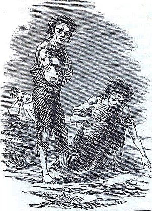 Famine - Skibbereen, Ireland, during the Great Famine, 1847 illustration by James Mahony for the Illustrated London News