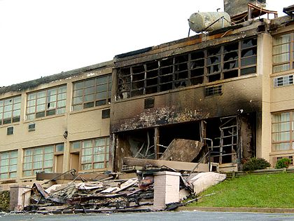The Skyline Parkway Motel at Rockfish Gap after arson on July 9, 2004 Skyline Parkway Motel Burned.jpg