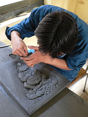 Slate carving, School of Traditional Arts, Thimphu