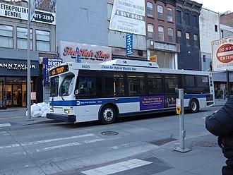 Fulton Street (Brooklyn) - A B38 bus on Fulton Mall