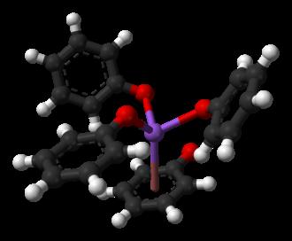 Sodium phenoxide - Ball-and-stick model of the sodium coordination geometry in unsolvated sodium phenoxide