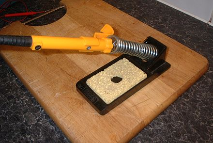 Soldering iron stand Soldering iron in holder.jpg