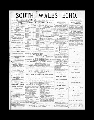 South Wales Echo - Front page of a copy from 1880