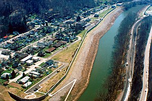 South Williamson, Kentucky - The town is protected by a floodwall along the Tug Fork River