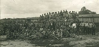 Lithuanian–Soviet War - Soviet prisoners of war in a Lithuanian camp. As of December 1, 1919 Lithuanians held 1,773 Soviet soldiers.