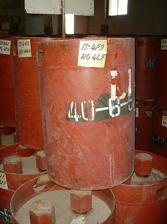 Chemical weapon - Image: Soviet chemical weapons canisters from a stockpile in Albania