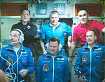 Soyuz TMA-07M crew talks with the Russian Mission Control - cropped.jpg