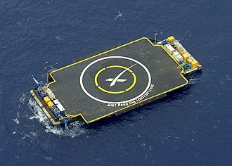 Autonomous spaceport drone ship - SpaceX's Just Read the Instructions, based on the Marmac 300 deck barge, in position for a landing test on Falcon 9 Flight 17 in April 2015.