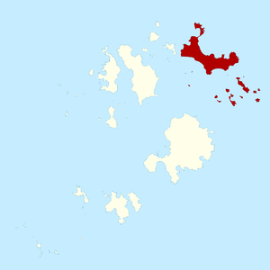St Martin's, Isles of Scilly - The isles of Scilly comprising the civil parish and ward of St Martin's shown in red.