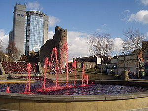 Saint David's Day - Water in Swansea Castle Square fountain dyed red for Saint David's Day