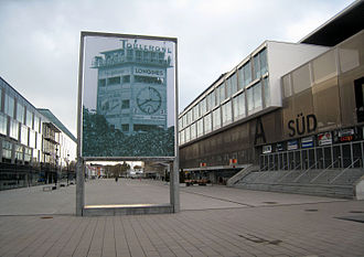 1954 FIFA World Cup Final - A well-known photograph of the 1954 final is installed in front of the Wankdorf's successor stadium, the Stade de Suisse.