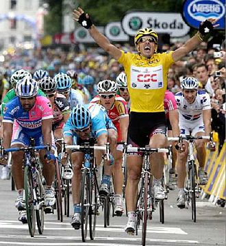 Fabian Cancellara - Cancellara winning stage three of the 2007 Tour de France whilst wearing the race leader's yellow jersey