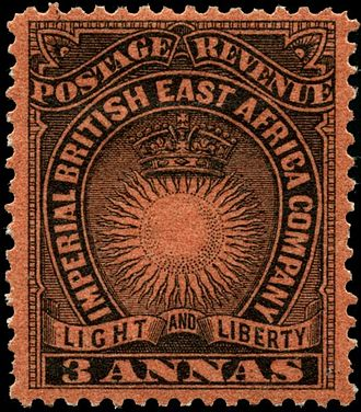 Postage stamps and postal history of British East Africa - A Sun and Crown stamp of 1890