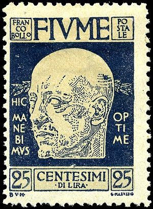 Italian Regency of Carnaro - D'Annunzio on a 1920 Fiume postage stamp.