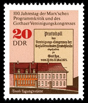 Social Democratic Workers' Party of Germany - The Congress at Gotha centennial commemorative postage stamp, East Germany, 1975