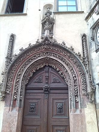 Old Town Hall (Prague) - A magnificent late Gothic door in the house adjacent to the tower serves as the main entrance to the Old Town Hall.